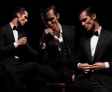 he: 3 poses of seated confident businessman in black tuxedo looking away in dark studio background. in one he is closing his jacket