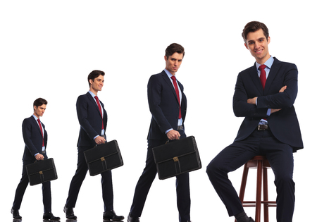 man sit: same business man in different stages of evolution to the highly awaited reward and being relaxed as a boss