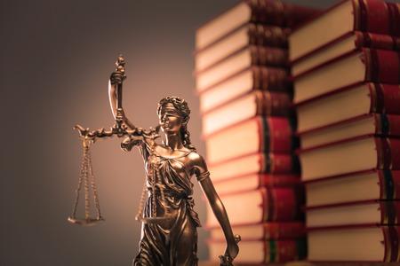 law books and justice statue shot in studio