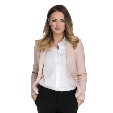 portrait of relaxed businesswoman standing on white background while holding pockets 版權商用圖片