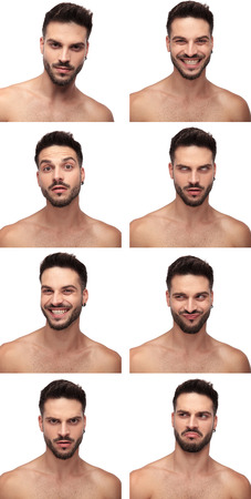 Collage image of a young naked man in different emotional state, serious, laughing, curious, rolling his eyes, excited, fooling around, angry, displeased