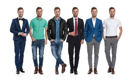 Collage image of the same young positive man posing in different outfits