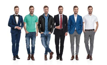 Imagen de collage del mismo joven positivo posando con diferentes atuendos