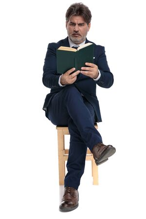 gorgeous formal business man with navy suit is sitting with legs crossed and reading a book intrigued on white studio background Stock Photo