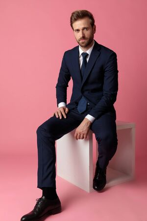 elegant formal business man in navy suit sitting with hands resting on laps while looking at camera relaxed on pink studio background Stock Photo