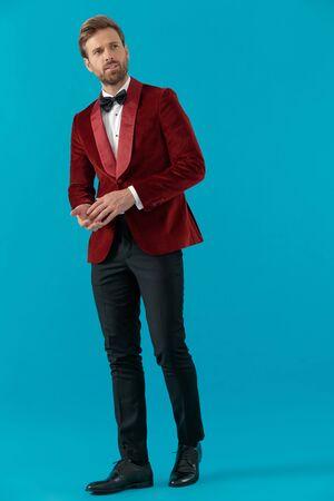 elegant fashion man wearing red velvet tuxedo, touching palms and looking to side, walking on blue background, full body Stock fotó