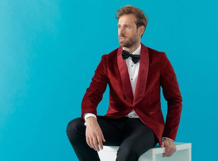 attractive fashion man wearing red velvet tuxedo, holding hands and looking to side, sitting on blue background Stock fotó