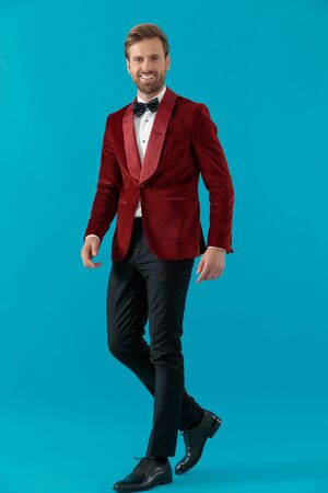 happy elegant man wearing red velvet tuxedo, walking and smiling on blue background, full body