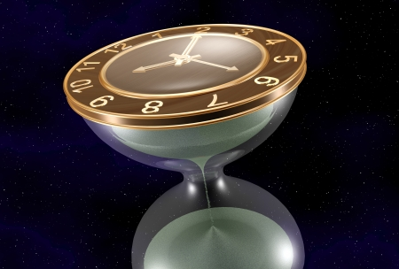 Clock in Space , can be customised, can be png, created in 3dsmax Stock Photo - 24638845