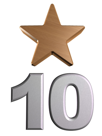 rate star number 10 3d Stock Photo
