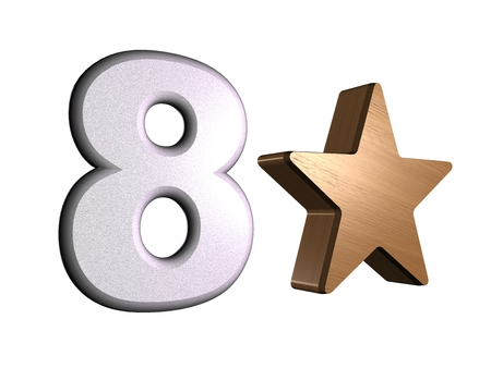 rate star number 8 3d Stock Photo - 24920971