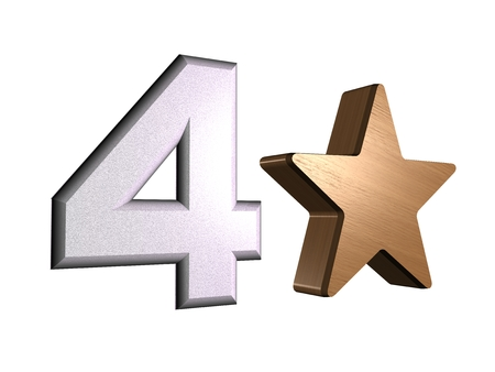 rate star number 4 3d Stock Photo