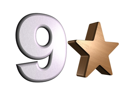 rate star number 9 3d Stock Photo