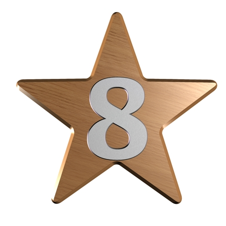 rate star number 8 3d photo