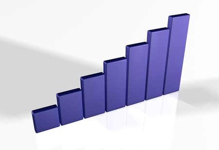 3d bar chart raytrace blue Stock Photo
