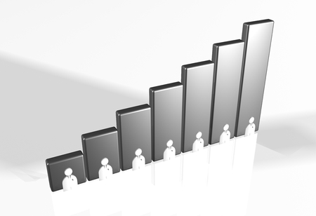 raytrace: 3d bar chart raytrace silver people