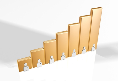 3d bar chart raytrace gold people Stock Photo - 24986829