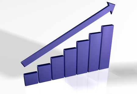 3d bar chart raytrace blue market
