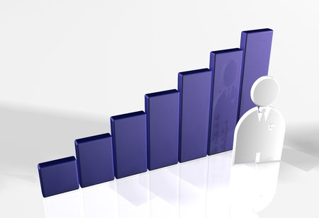 raytrace: 3d bar chart raytrace blue with man Stock Photo