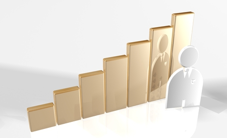 raytrace: 3d bar chart raytrace gold with man