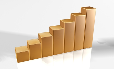 3d bar chart raytrace big columns of gold