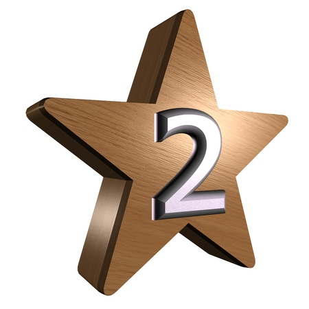 rate star number 2 3d wood Stock Photo