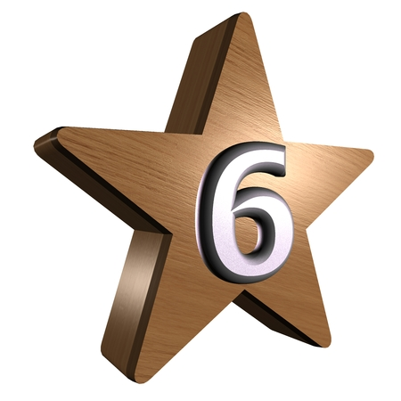 rate star number 6 3d wood Stock Photo