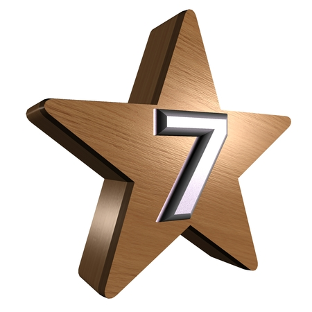 rate star number 7 3d wood