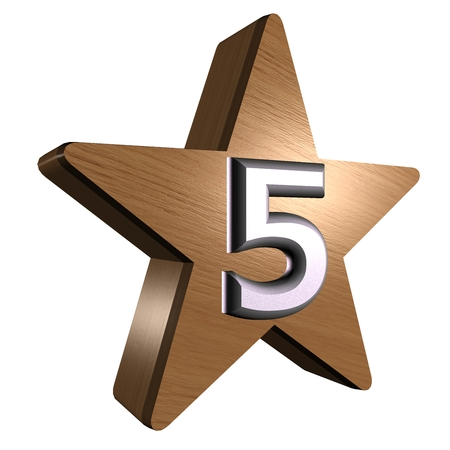 rate star number 5 3d wood