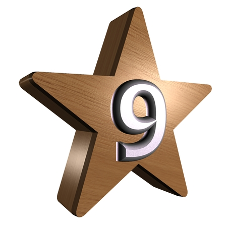rate star number 9 3d wood