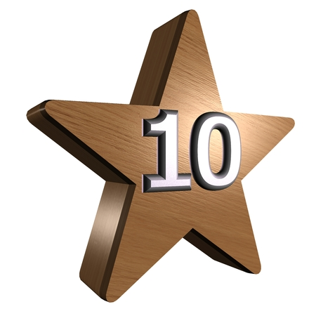 rate star number 10 3d wood Stock Photo