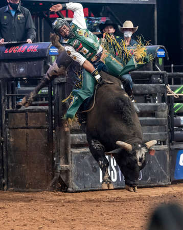 Keyshawn Whitehorse, professionall bull rider on his way to a winning ride during the Uleash the Beast tour