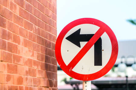 The sign prohibits to turn to the left Stock Photo
