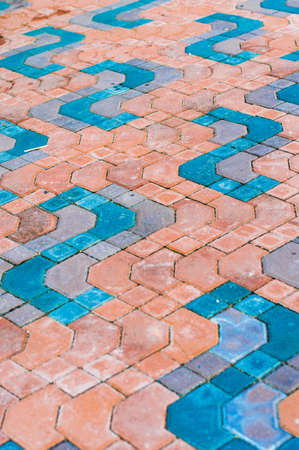 Orange brick and blue brick background photo