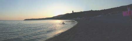 wideview: wide-angle panorama (Marina di Camerota - Italy) Stock Photo