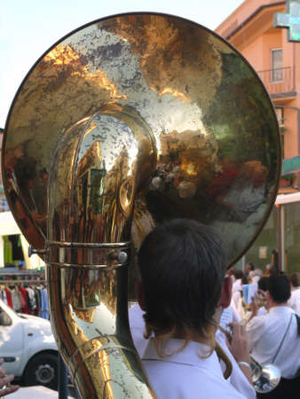 procession: Tuba player in procession Stock Photo