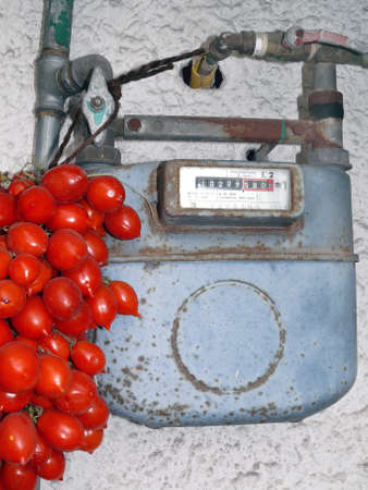gas meter: Old Gas meter with tied neapolitan tomatoes