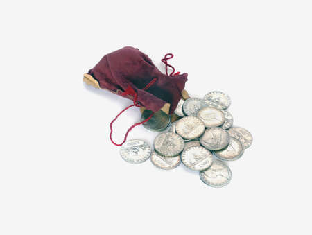 shilling: Sack with old (Italian) silver coins