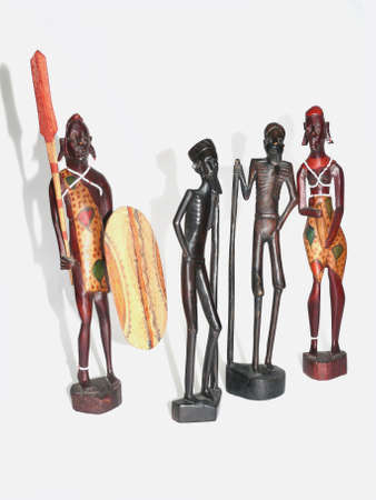 Couples of African wooden statuette photo