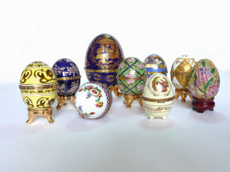 pinchbeck: Various ceramic eggs