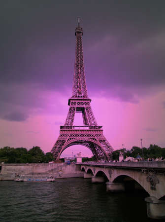 Eiffel tower in purple solarised effect Stock Photo - 3913144