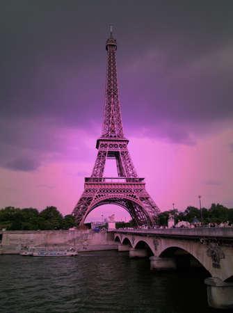 solarize: Eiffel tower in purple solarised effect