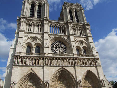 Notre Dame Cathedral facade in Paris (France)
