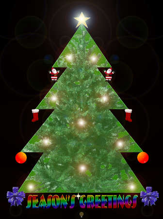 Black Background with Christmas tree illustration (Christmas card) Stock Illustration - 4008134