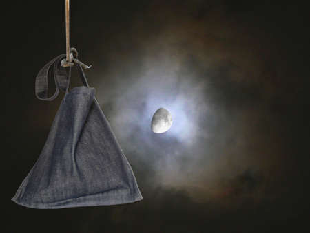 Nocturnal moon on a dark sky with a bag (sack) hanging in the foreground photo