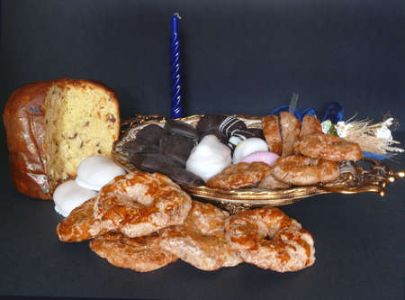 sweettooth: Italian Christmas panettone with pastries over black