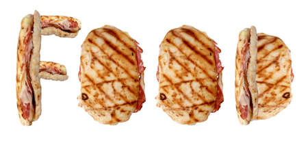 Word FOOD written by some standing grilled sandwiches over white photo