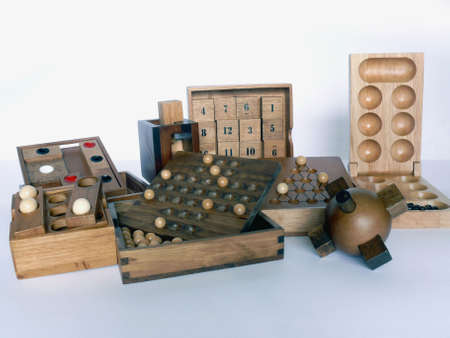 Various logical wooden game isolated on white photo
