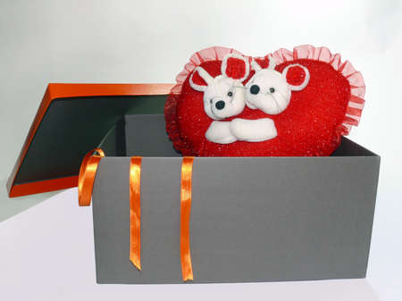 Red heart shaped pillow with teddy bears inside a gift box   Stock Photo - 4193866