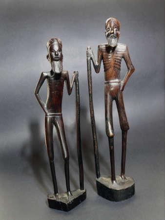 teknik: Very old African wood figurine Stockfoto